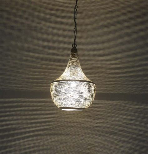 Handcrafted Light Fixtures - handcrafted moroccan silver plated brass hanging l