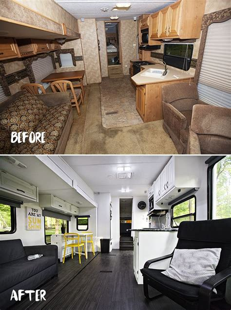 trailer after before after pictures of the rv renovation we did on our