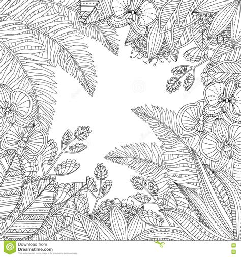 tropical leaves coloring pages vector hand drawn tropical illustration with exotic leaves