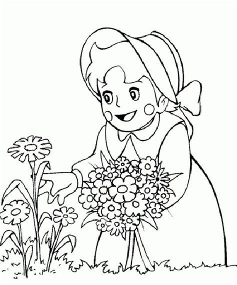 Coloriage De Heidi Dessin Elle Cueille Des Belles Fleurs