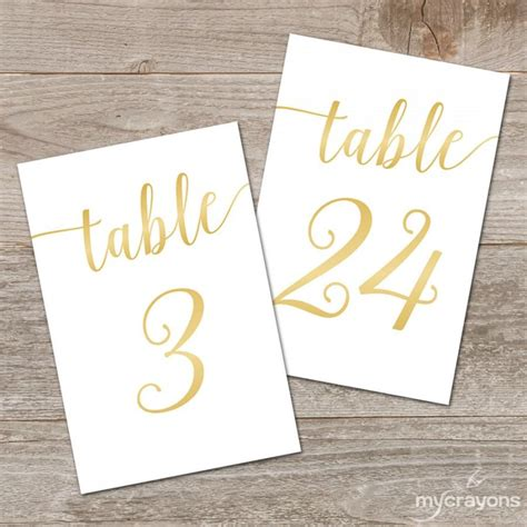4x6 printable table numbers printable gold table numbers 1 30 bella script gold