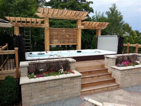 Swim Spa Backyard Designs by Beautiful Swim Spa Install With Cedar Pergola Paradise