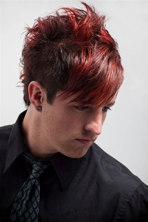mens hairstyles red highlights brillare hairdressing academy gallery hair style cut
