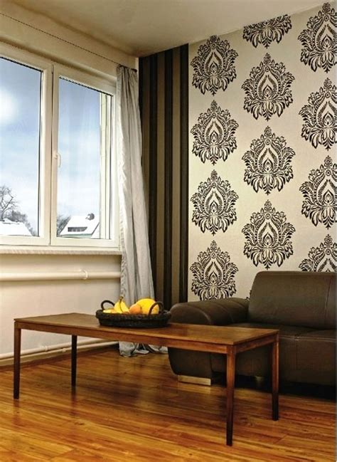 Wallpapers In Home Interiors traditional floral damask brown with white pattern
