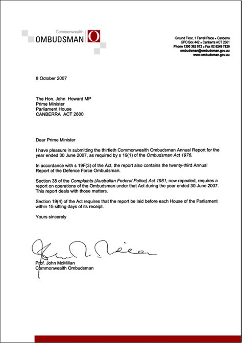 Transmittal Letter Sle For Report Transmittal Letter Commonwealth Ombudsman Annual Report 2006 07 Commonwealth Ombudsman