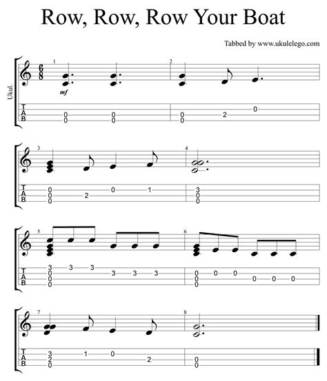 how to row a boat row row row your boat simple ukulele arrangement