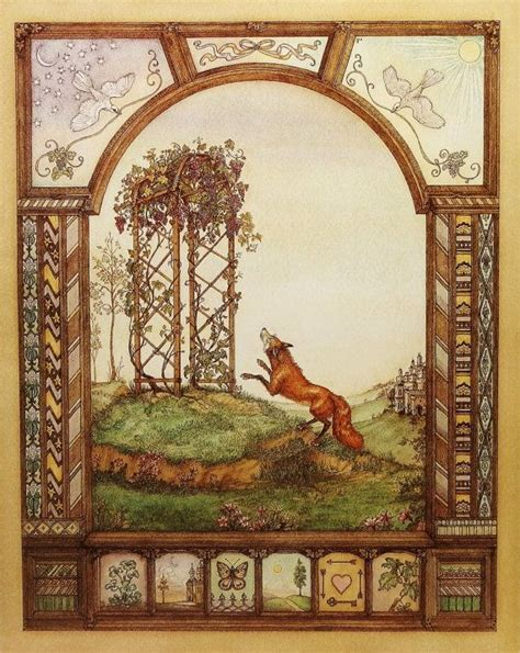 fairy home decor fox the grapes fairy tale illustration vintage home