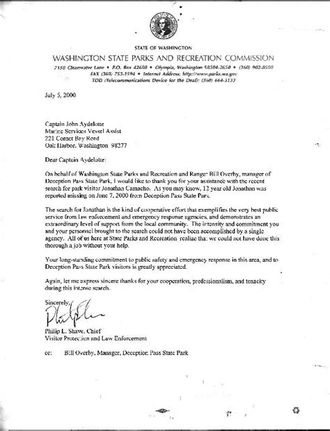 Thank You Letter Of Rec Awards Marine Services Assist Nw
