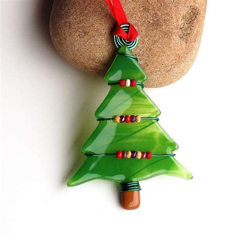 fused glass christmas tree ornament suncatcher