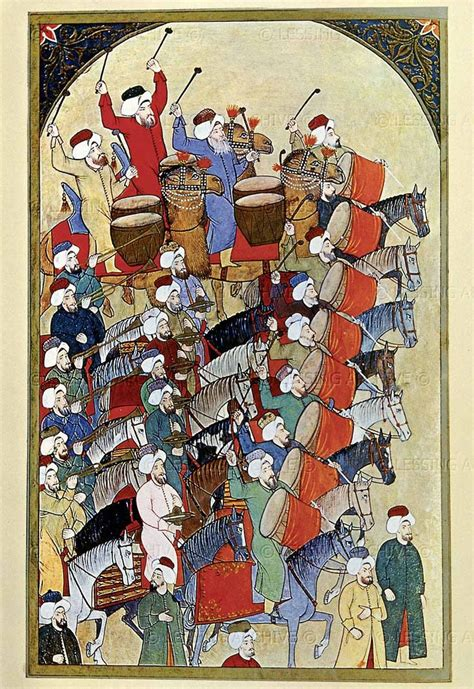 ottoman miniature painting parade of musicians in honor of the sultan turkish