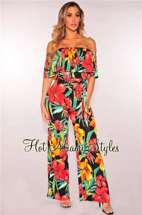 Tropical Print Jumpsuit black tropical print shoulder ruffle belted jumpsuit
