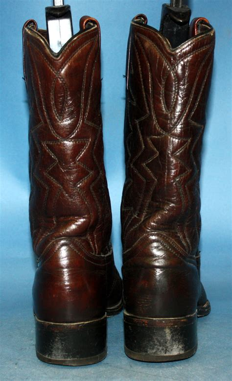 vtg 60s durango leather flat top pointed toe cowboy