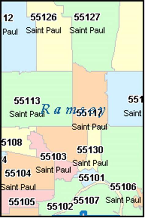 mn zip code map ramsey county minnesota digital zip code map