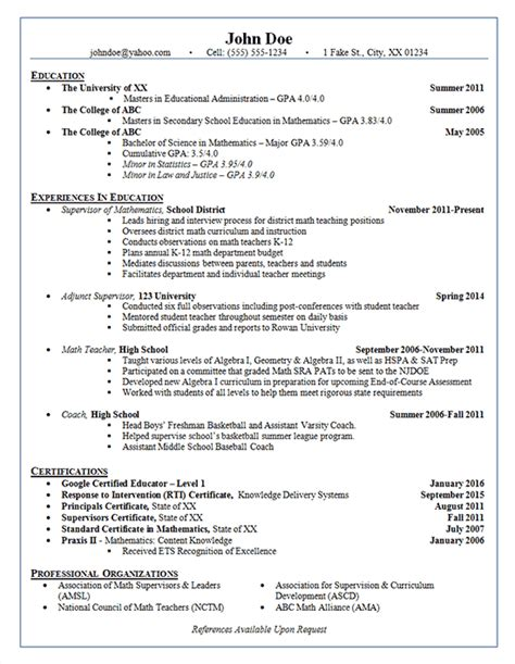 Resume Sle For College Administrator School Administrator Resume Exle Adjunct Supervisor