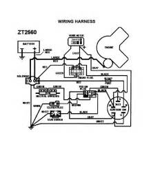 wiring harness diagram parts list for model zt2560 swisher parts mower tractor parts