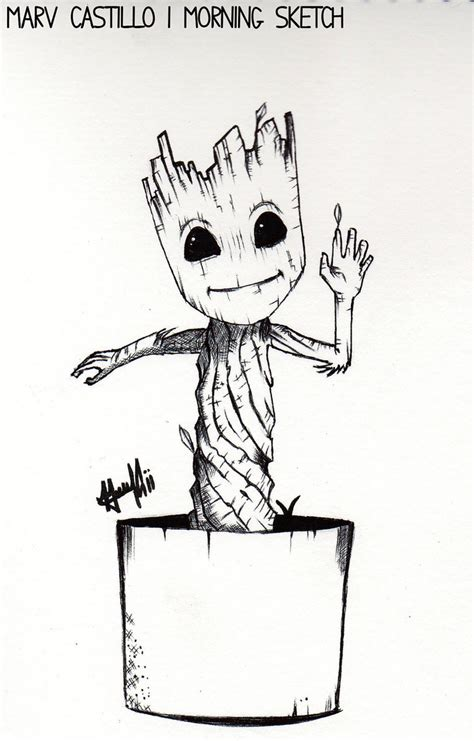 coloring page baby groot morning sketch baby groot baby groot by marv castillo
