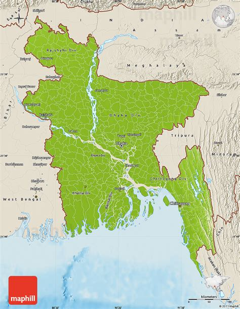 geographical map of bangladesh physical map of bangladesh shaded relief outside