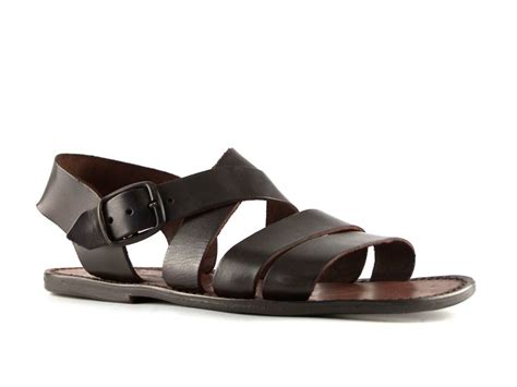 Handmade Mens Sandals - handmade mens flat strappy sandals in brown leather