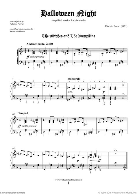 Free Ferrari - Halloween Night (simplified) sheet music