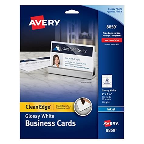 avery ink jet one side printable clean edge business cards