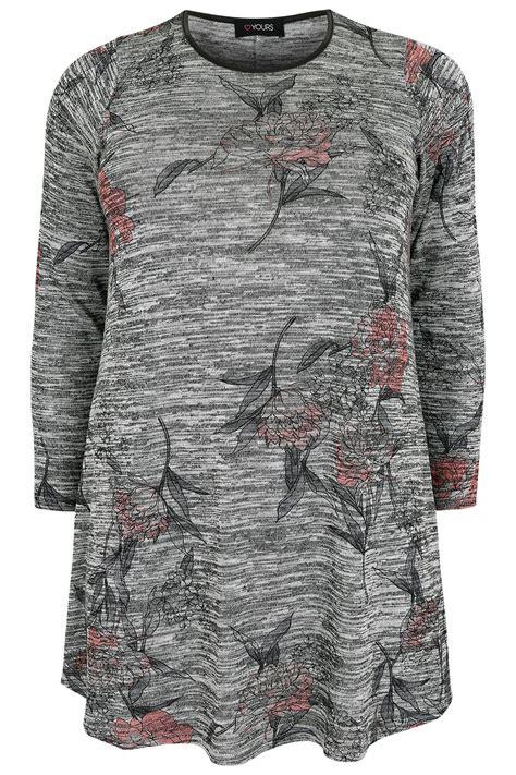 best of swing gray space dye bloemenprint knit swing top