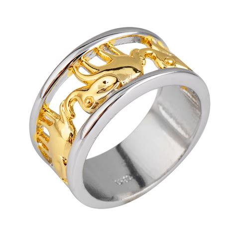 luxury yellow elephant ring white gold filled jewelry