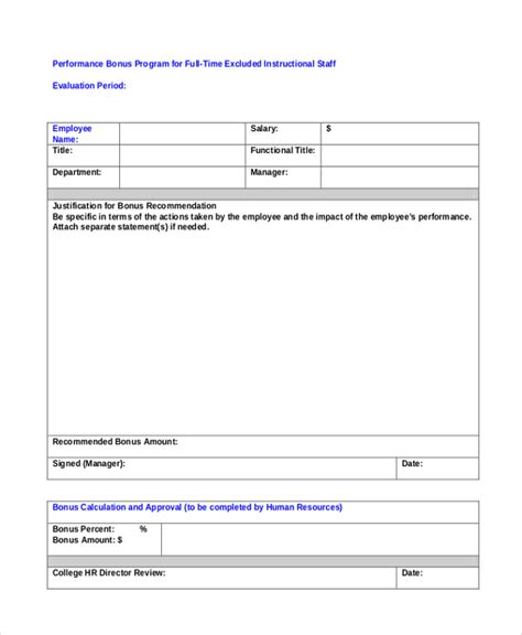 performance bonus template sle employee appraisal form free documents in pdf doc