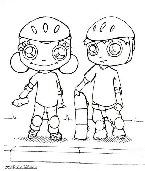 roller skating coloring pages hellokids com