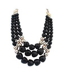 Kalung Black Multilayer Simple Design White Pearl decorous decorated flower design alloy beaded necklaces asujewelry