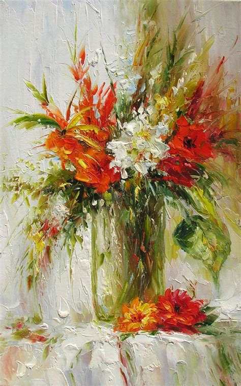 Painting Flowers In A Vase by Original Painting Textured Palette Knife Made To Order