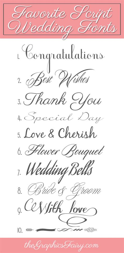 Wedding Fonts by Favorite Script Wedding Fonts The Graphics