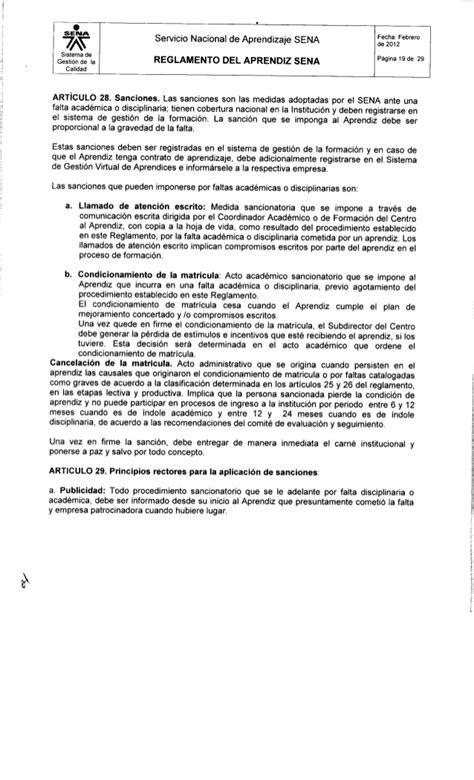 reglamento del aprendiz sena acuerdo 00007 de 2012pdf reglamento del aprendiz sena acuerdo 00007 de 2012