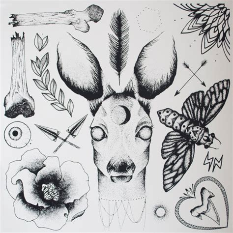 tattoo flash work dot work deer tattoo flash screen print by antiprism on etsy
