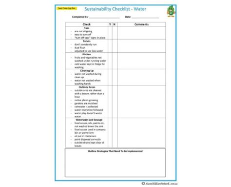 sustainability plan template sustainability checklist water aussie childcare network