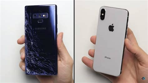 samsung 9 vs iphone x droptest samsung galaxy note 9 versus iphone x apparata