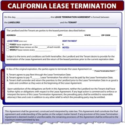 Sle Lease Termination Agreement California California Lease Termination