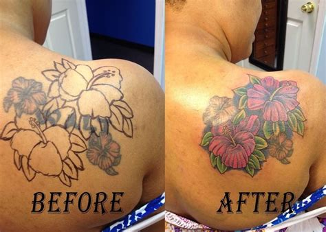 small name cover up tattoos cover up flowers of a ex s name done by blue fin tattoos