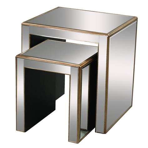 mirrored nest of tables mirrored nesting tables 黑金后现代