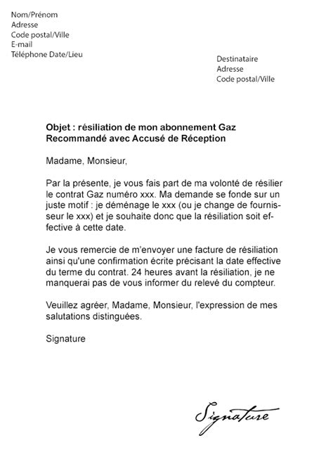 exemple lettre resiliation minute