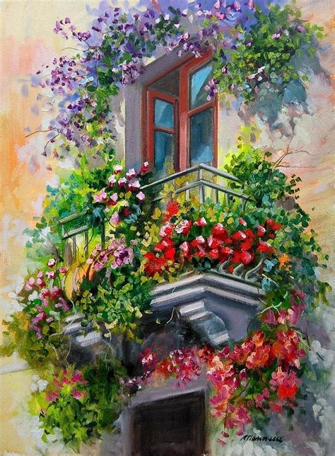 balcony flowers balcony with flowers italy painting by gioia mannucci