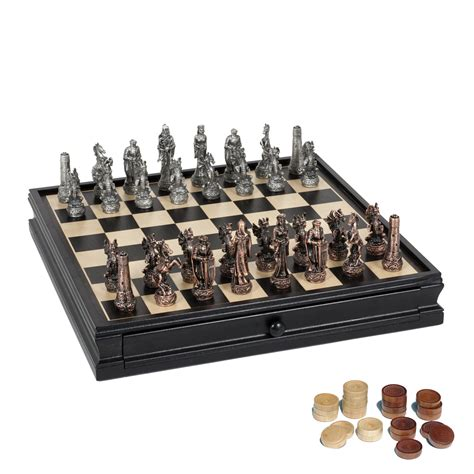 fantasy chess set fantasy chess checkers game set pewter chessmen black stained wood board with storage