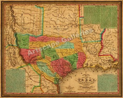 texas territory map 1835 texas and indian territory map wall map 24x30 ebay