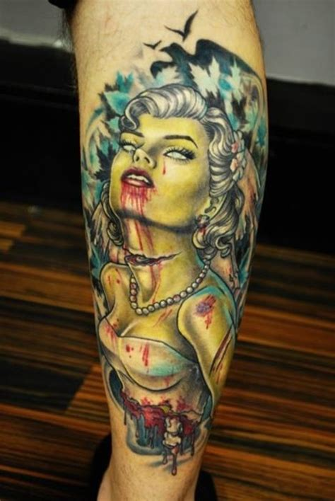 hot zombie tattoo zombie pinup with brain tattoo on arm real photo