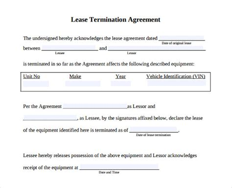 Sle Letter Of Termination Of Equipment Lease Lease Termination Agreement 9 Sles Exles Format