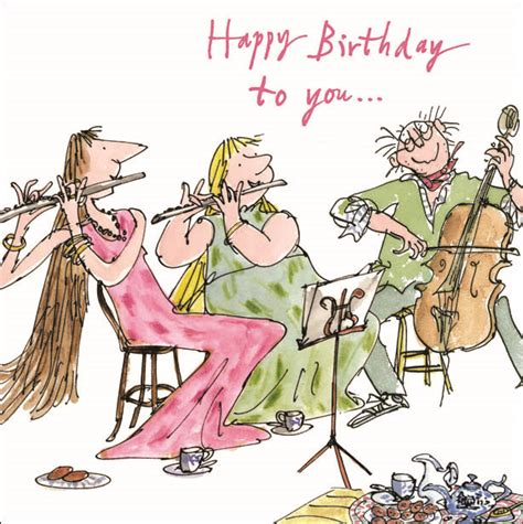 cartoon themes orchestra quentin blake happy birthday to you greeting card square