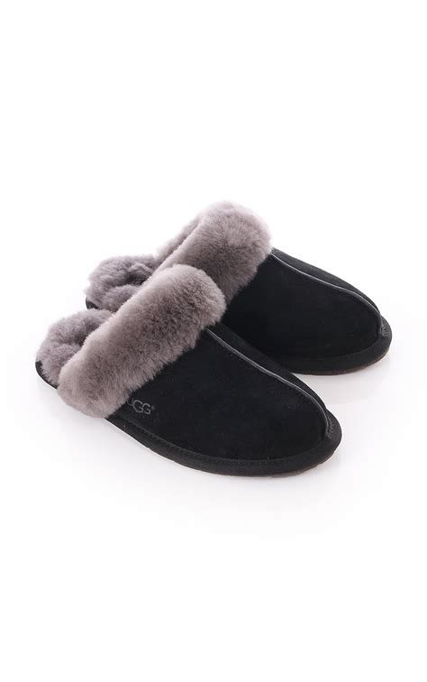 womens gray slippers ugg womens ugg australia scuffette ii slippers black grey