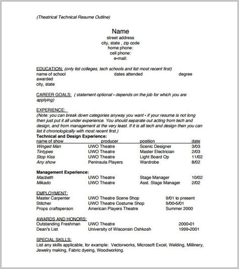 free outline of a resume resume resume exles