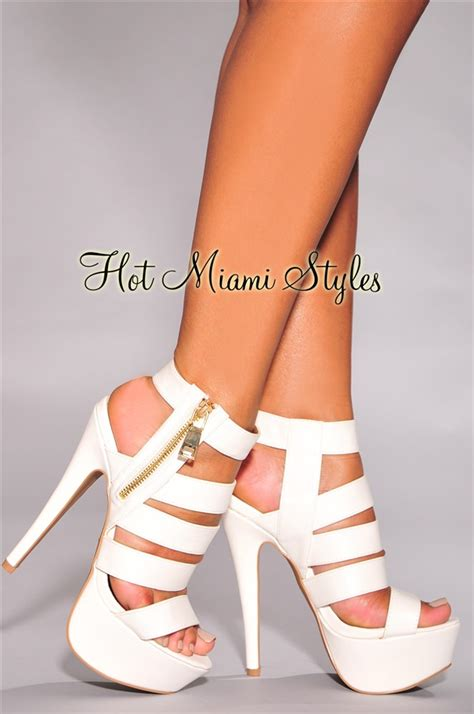 white strappy gold zipper accent high heel sandals