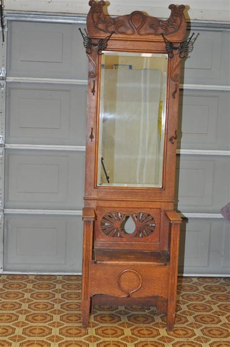 antique hall tree with storage bench antique oak entry hall tree with storage bench beveled