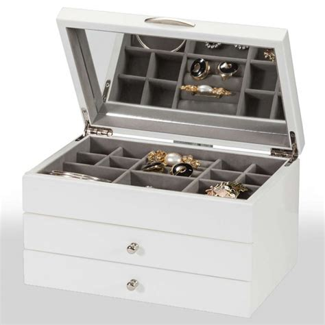 Personalised White Jewellery Box With Mirror